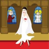 Bruid in een kerk Royalty-vrije Stock Afbeeldingen