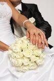 Bruid en boeket Stock Afbeelding