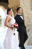 Bruid en Bruidegom bij Huwelijk Royalty-vrije Stock Afbeeldingen