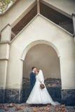 Bruid en bruidegom bij huwelijksdag stock afbeelding