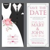 Bruid en bruidegom, de kaart van de huwelijksuitnodiging Royalty-vrije Stock Afbeeldingen