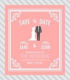 Bruid en bruidegom, de kaart van de huwelijksuitnodiging Stock Afbeelding