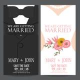 Bruid en bruidegom, de kaart van de huwelijksuitnodiging Royalty-vrije Stock Foto's