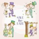 Bruid en Bruidegom - de Reeks van de Huwelijkskrabbel Royalty-vrije Stock Afbeeldingen