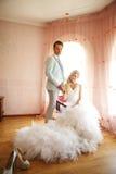 Bruid en bruidegom in de ruimte Stock Foto