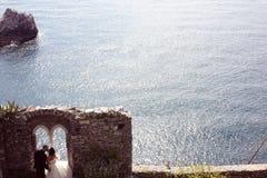 Bruid en bruidegom dichtbij oceaan Royalty-vrije Stock Foto