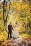 Bruid en bruidegom die in de aardzomer lopen stock fotografie