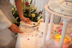 Bruid en bruidegom die de cake snijden Royalty-vrije Stock Foto's