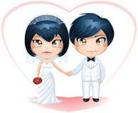 Bruid en Bruidegom die Gehuwde 3 krijgen Stock Foto's