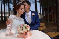 Bruid en bruidegom die het kussen zitting op een bech in park omhelzen royalty-vrije stock afbeeldingen