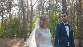 Bruid en bruidegom die in het pijnboomhout lopen stock video