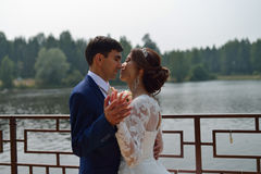 Bruid en bruidegom die op een brug dichtbij het meer omhelzen royalty-vrije stock foto's