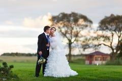 Bruid en bruidegom die op het gebied lopen Stock Afbeeldingen