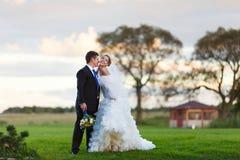 Bruid en bruidegom die op het gebied lopen Royalty-vrije Stock Afbeelding