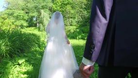 Bruid en bruidegom die op weg van bosweg lopen stock videobeelden