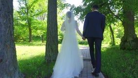 Bruid en bruidegom die op weg van bosweg lopen stock video