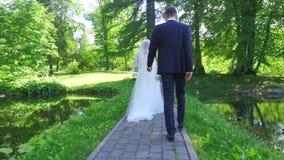 Bruid en bruidegom die op weg van bosweg lopen stock footage