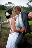 Bruid en Bruidegom die tegen een omheining omhelzen Royalty-vrije Stock Afbeeldingen