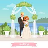 Bruid en bruidegom die zich onder bloemenboog bevinden De dag van het huwelijk Paar in liefde Vrouw in witte kleding, man in klas Stock Afbeelding