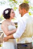 Bruid en Bruidegom First Look Moment stock foto