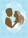 Bruid en bruidegom in frame Royalty-vrije Stock Afbeeldingen
