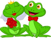 Bruid en Bruidegom Frogs Cartoon Characters Stock Fotografie