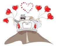 Bruid en bruidegom het berijden in een auto Stock Afbeelding