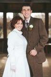 Bruid en bruidegom het glimlachen Royalty-vrije Stock Afbeeldingen
