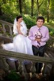 Bruid en bruidegom het glimlachen Stock Foto's