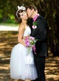 Bruid en bruidegom in het park Royalty-vrije Stock Afbeeldingen