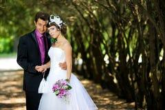 Bruid en bruidegom in het park Royalty-vrije Stock Afbeelding