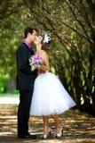 Bruid en bruidegom in het park Stock Foto