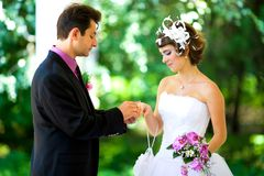 Bruid en bruidegom in het park Stock Fotografie