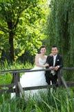 Bruid en bruidegom het stellen in aard Stock Afbeelding