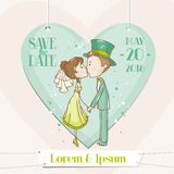 Bruid en Bruidegom - Huwelijkskaart Stock Afbeelding