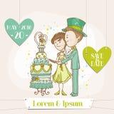 Bruid en Bruidegom - Huwelijkskaart Royalty-vrije Stock Foto's