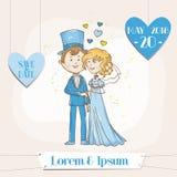 Bruid en Bruidegom - Huwelijkskaart Royalty-vrije Stock Afbeelding