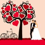 Bruid en bruidegom Huwelijkskaart met de jonggehuwden vector illustratie
