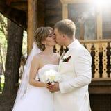 Bruid en bruidegom, kus Stock Fotografie