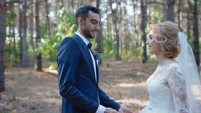 Bruid en bruidegom meaat elkaar in het hout stock video