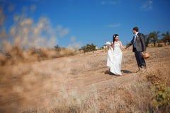 Bruid en bruidegom op de weg Stock Afbeeldingen