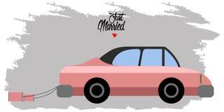 Bruid en bruidegom op een auto Enkel echtpaar vector illustratie