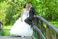 Bruid en bruidegom op houten brug Royalty-vrije Stock Afbeeldingen