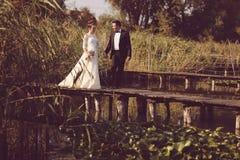 Bruid en bruidegom op houten brug Stock Afbeeldingen