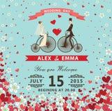 Bruid en bruidegom op Reto-fiets Harten, bloemenachtergrond vector illustratie