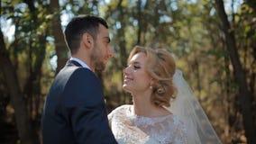 Bruid en bruidegom openlucht stellen stock videobeelden