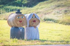 Bruid en bruidegom, paar van stro Stock Fotografie