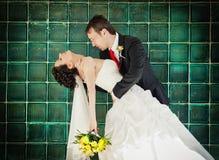 Bruid en bruidegom in park het kussen Royalty-vrije Stock Afbeeldingen