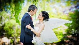 Bruid en bruidegom in park het kussen op groene backgro Stock Fotografie