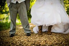 Bruid en Bruidegom Shoes en Laarzen Royalty-vrije Stock Afbeelding